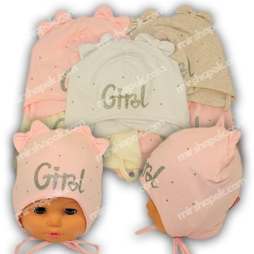 Детские шапки из трикотажа на завязках, Y1026