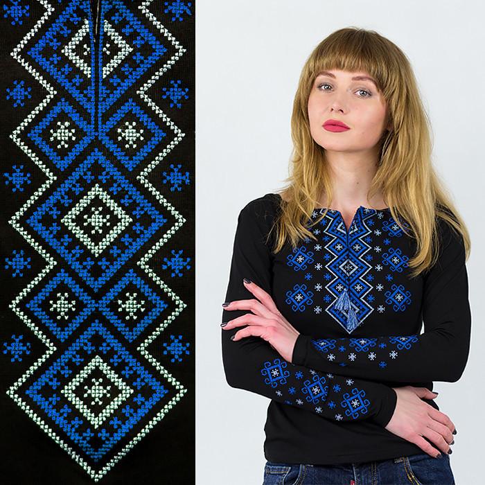Лонгслив вышиванка черная Орнамент синий широкий
