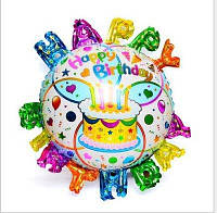 """Шарик  большой фольгированный   с надувными буквами по краям """" Happy Birthday -тортик """" диаметр 45см."""