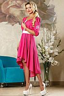 Платье женское с вышивкой модное малиновое с поясом