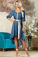 Платье женское модное синее нарядное с поясом