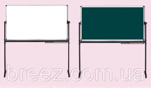 Оборотная маркерно-меловая доска ABC Office 100 x 200 см, алюминиевая рама