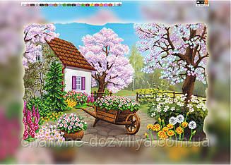 """Схема для вышивки бисером на подрамнике (холст) """"Весенний пейзаж"""""""