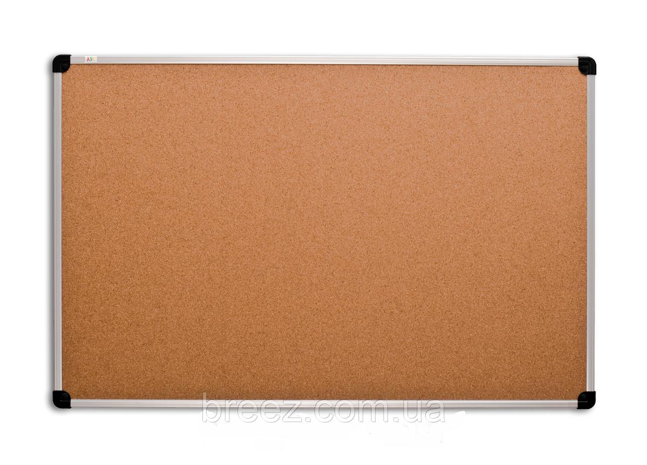 Пробковая доска ABC Office 65 x 100 см, алюминиевая рама S-line