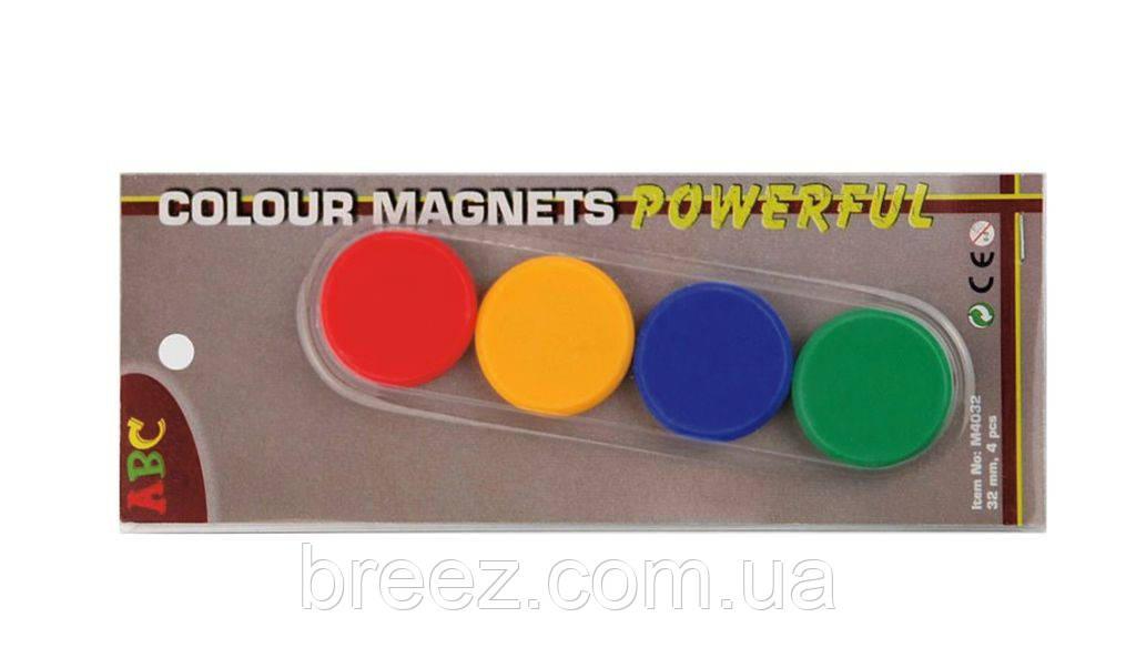 Набор магнитов ABC Office  диаметр  32 мм 4 шт., блистер