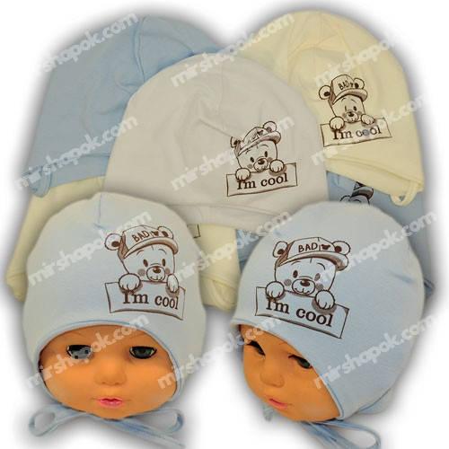 Детские шапки из трикотажа на завязках, Y1027