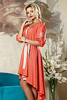 Платье женское модное нарядное с поясом терракотовое