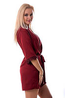 Шелковый бордовый халат с кружевом XS