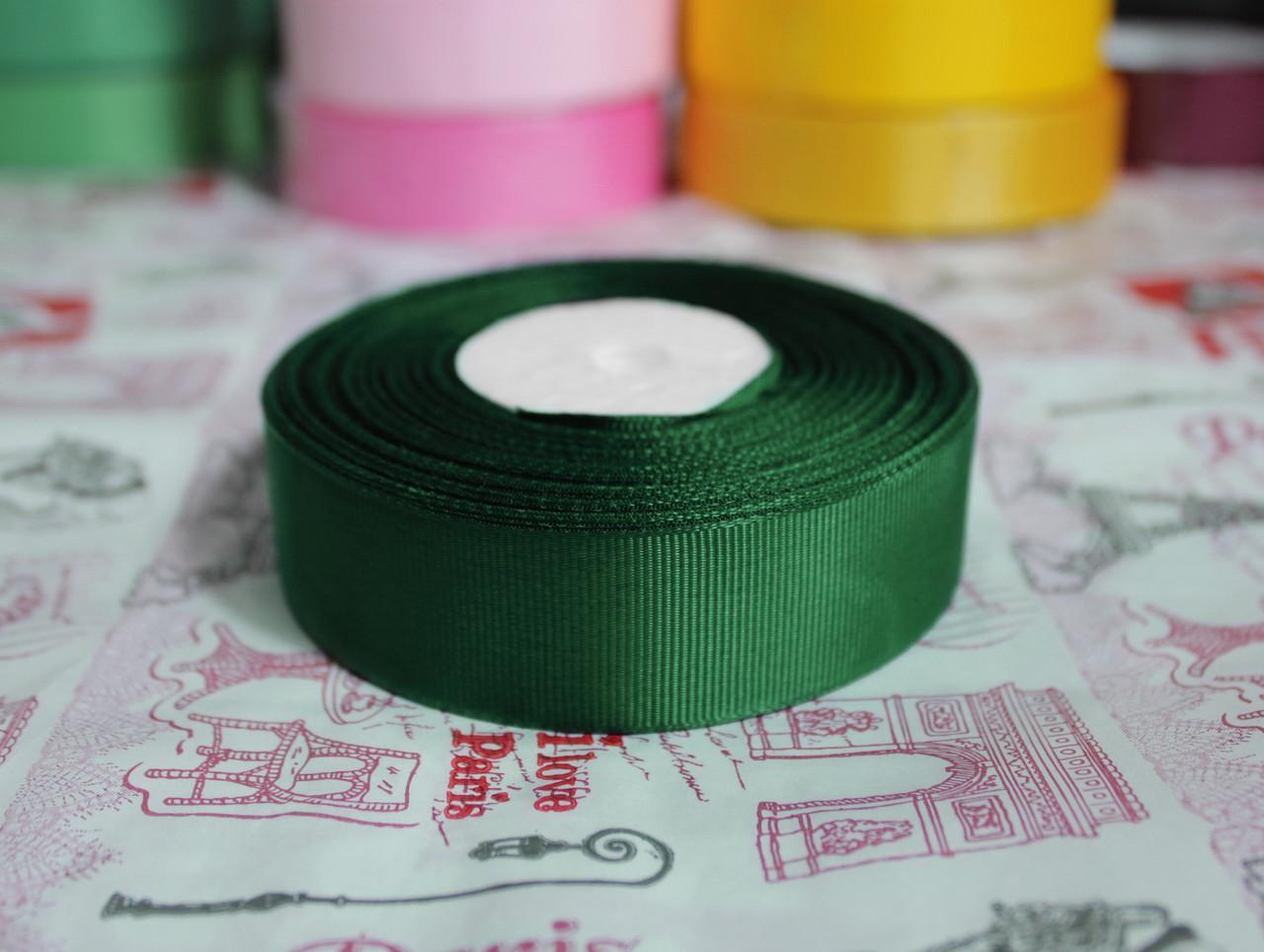 Лента репсовая темно- зеленая 25 мм, 23 м