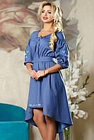 Платье женское модное с вышивкой синее