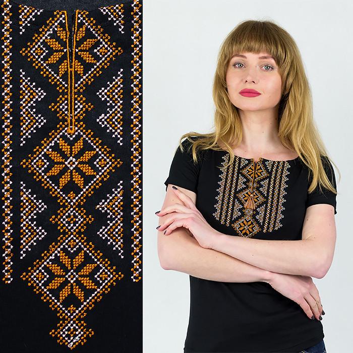Вышиванки женские футболки Орнамент золотой узкий