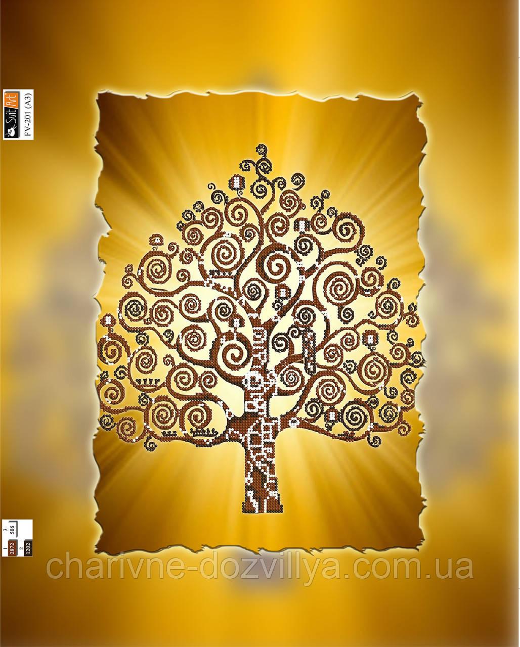"""Схема для вышивки бисером на подрамнике (холст) """"Дерево счастья"""" (золото)"""