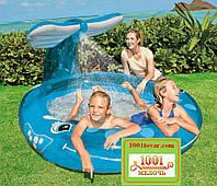 """Детский надувной бассейн Intex 57435 с душем """"Кит"""", 208 л, 3,06 кг (208х163х99 см)"""