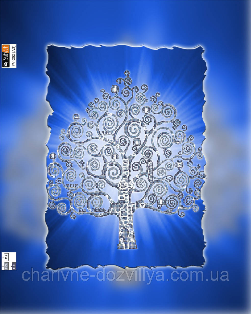 """Схема для вышивки бисером на подрамнике (холст) """"Дерево счастья"""" (серебро)"""