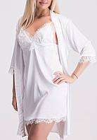 Белый комплект кружевной для сна, хороший вариант для невесты К011н