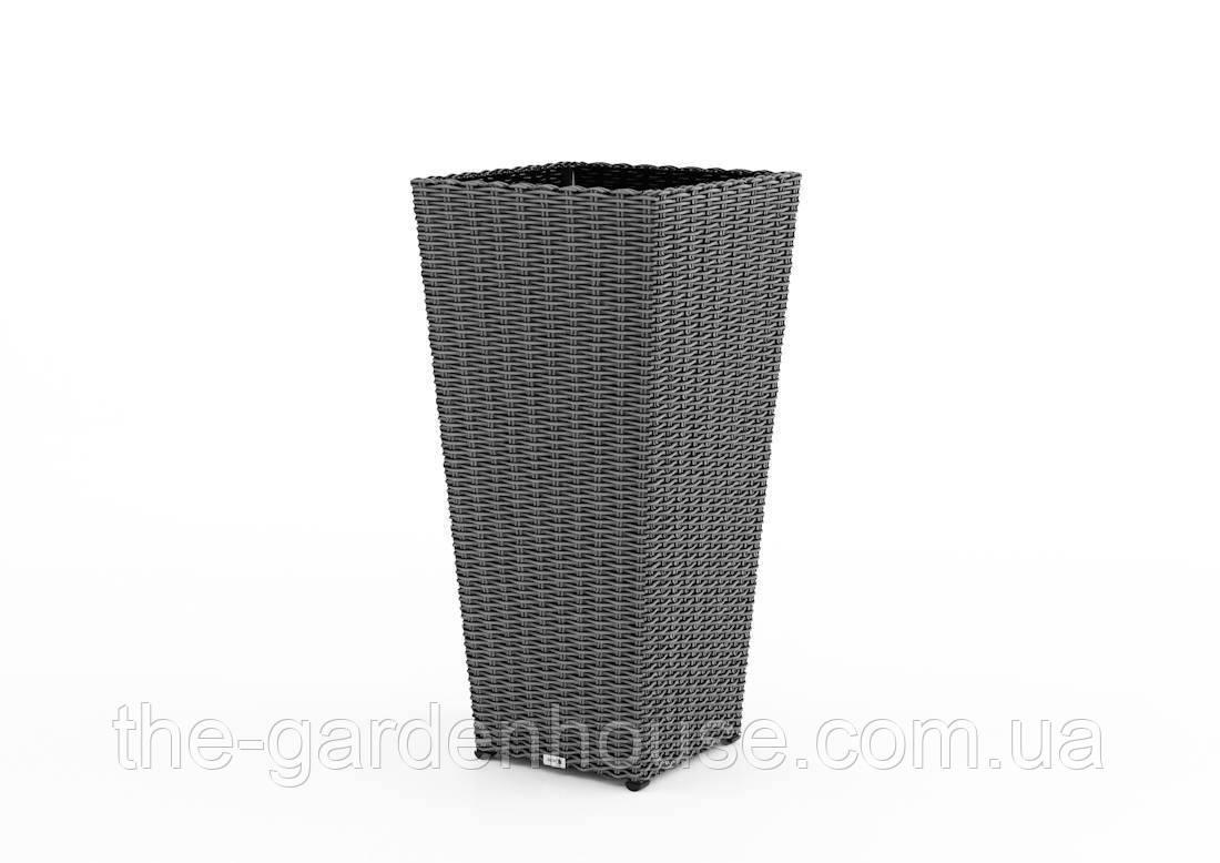 Ваза Scaleo Royal з штучного ротанга 41х41х80 см сірий