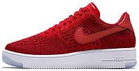 Мужские кроссовки Nike Air Force 1 Ultra Flyknit Low Red White (Найк Аир Форс низкие) красные