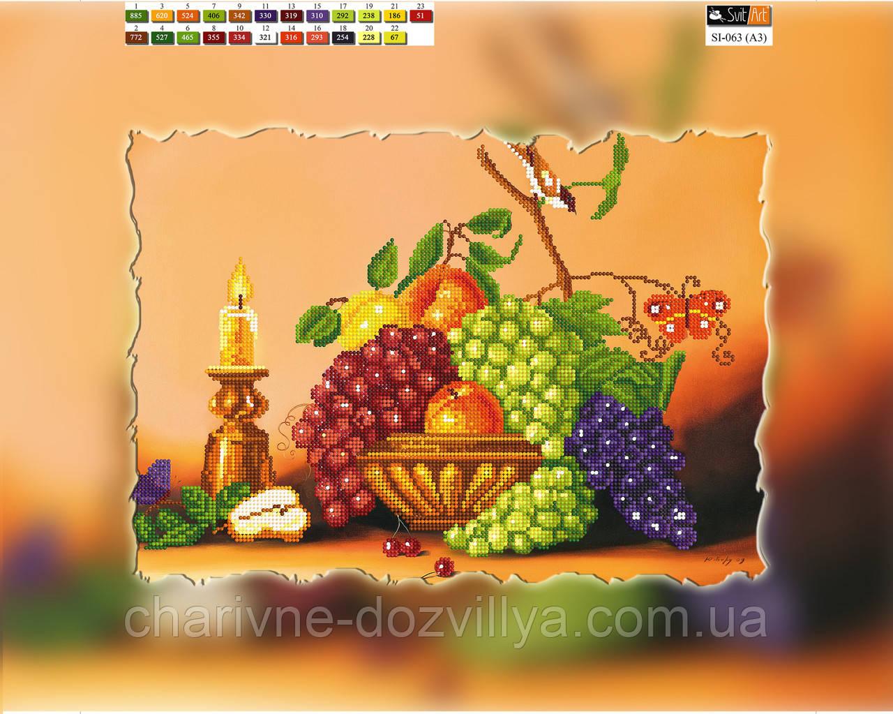 """Схема для вышивки бисером на подрамнике (холст) """"Натюрморт с виноградом"""""""