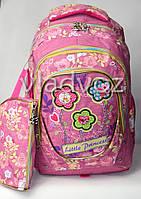 Шкільний рюкзак для дівчинки з пеналом little princess сова квіти рожевий