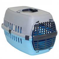 Переноска для котов и собак Moderna МОДЕРНА РОУД-РАННЕР 1 с пластиковой дверью, ярко-голубой, 51*31*34см