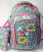 Школьный рюкзак для девочки с пеналом little princess цветы серый