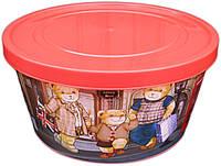 """Ёмкость для пищевых продуктов пластиковая круглая с декором 1 литр """"ПолимерАгро"""""""
