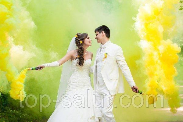 Цветная ручная дымовая шашка YELLOW SMOKE, время: 60 секунд, цвет дыма: желтый