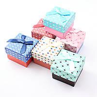 Подарочная коробочка для кольца и серьг квадратная - Сердчечки