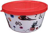 """Ёмкость для пищевых продуктов пластиковая круглая с декором 2,5 литра """"ПолимерАгро"""", фото 1"""