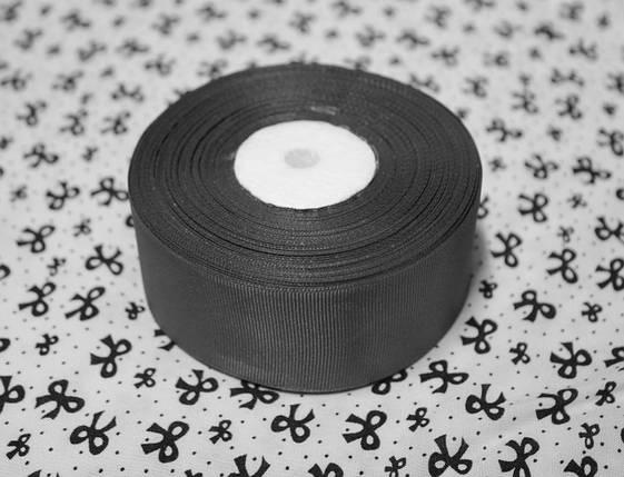 Лента репсовая темно- серая 4 см, 23 м, фото 2