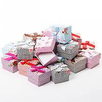 Подарочная коробочка для кольца и серьг квадратная - Шахматки