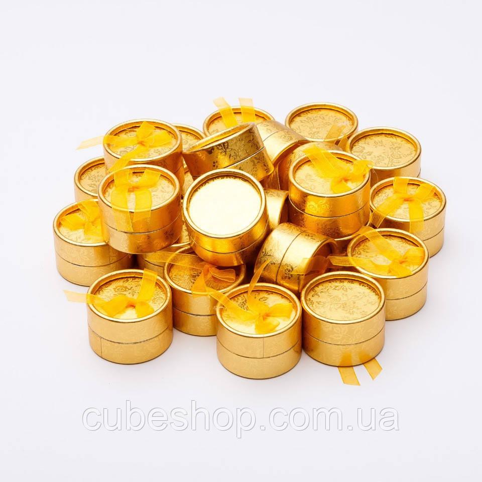 Подарочная коробочка для кольца и серьг круглая - Золотой круг