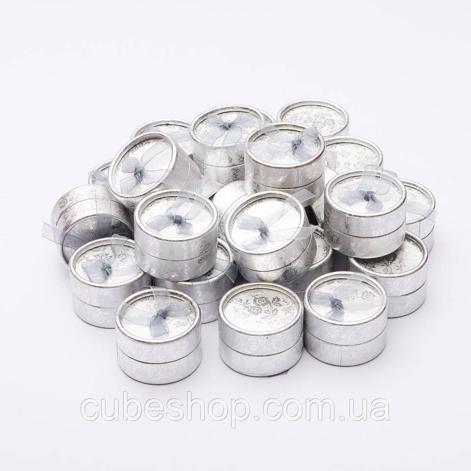 Подарочная коробочка для кольца и серьг круглая - Серебро круг - CubeShop - подарки и подарочная упаковка в Киеве
