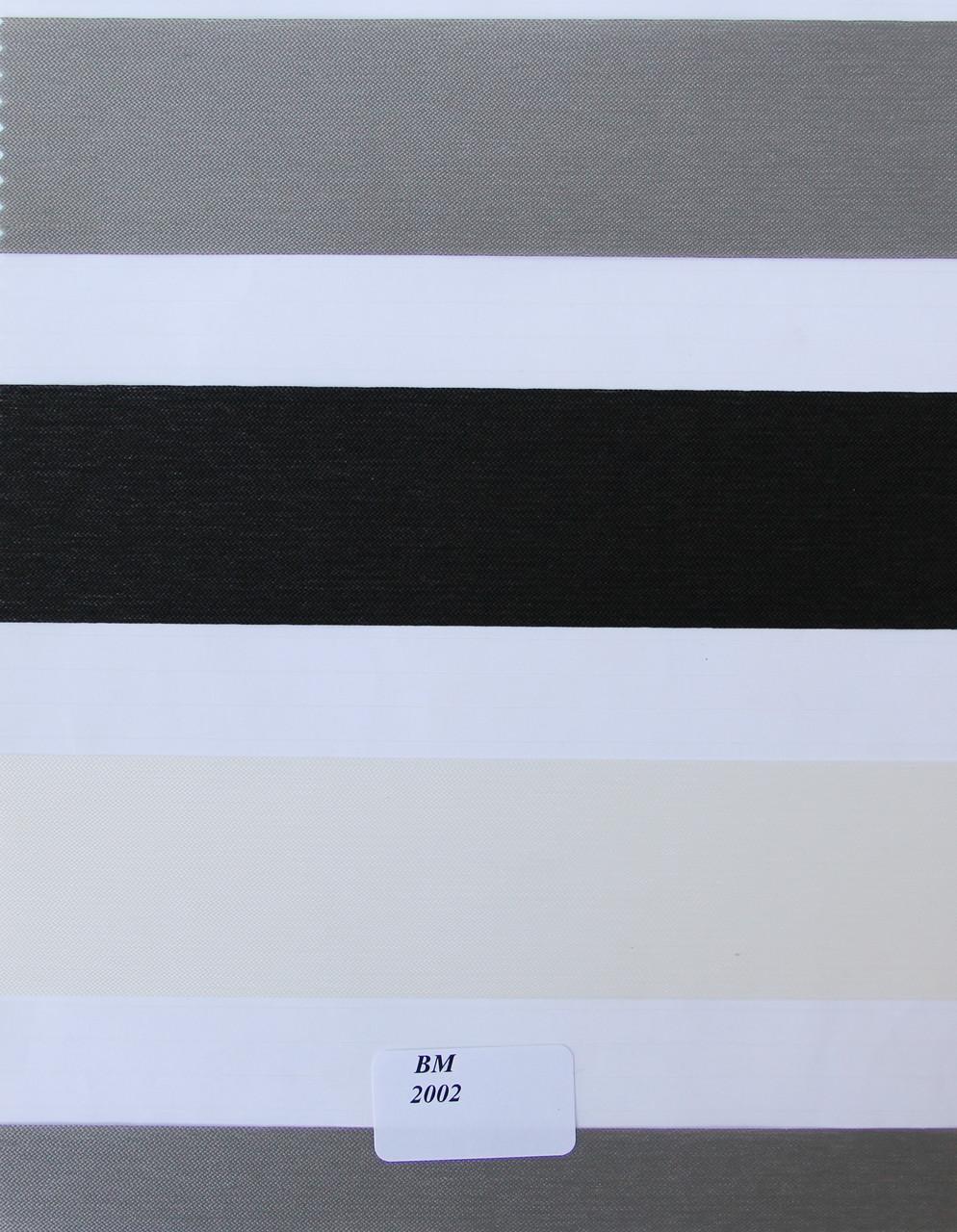Рулонные шторы День-Ночь Ткань Лаура ВМ 2002 Чёрно-серо-белый