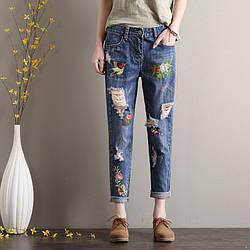 Стильные джинсы женские с вышивкой AL7773