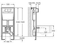 Комплект ROCA: PRO инсталяция для унитаза,  PRO кнопка, MERIDIAN-N Compacto подвесной,сиденье  твердое slow-closin