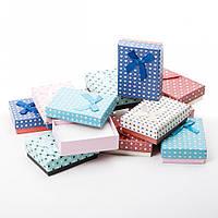 Коробочка подарочная для украшений прямоугольная 7х9х3см - Сердечки