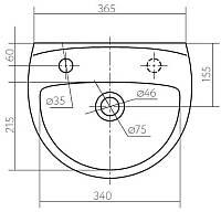 FREJA умывальник с отверстием с левой стороны,  с переливом 40*33 см (укр.)