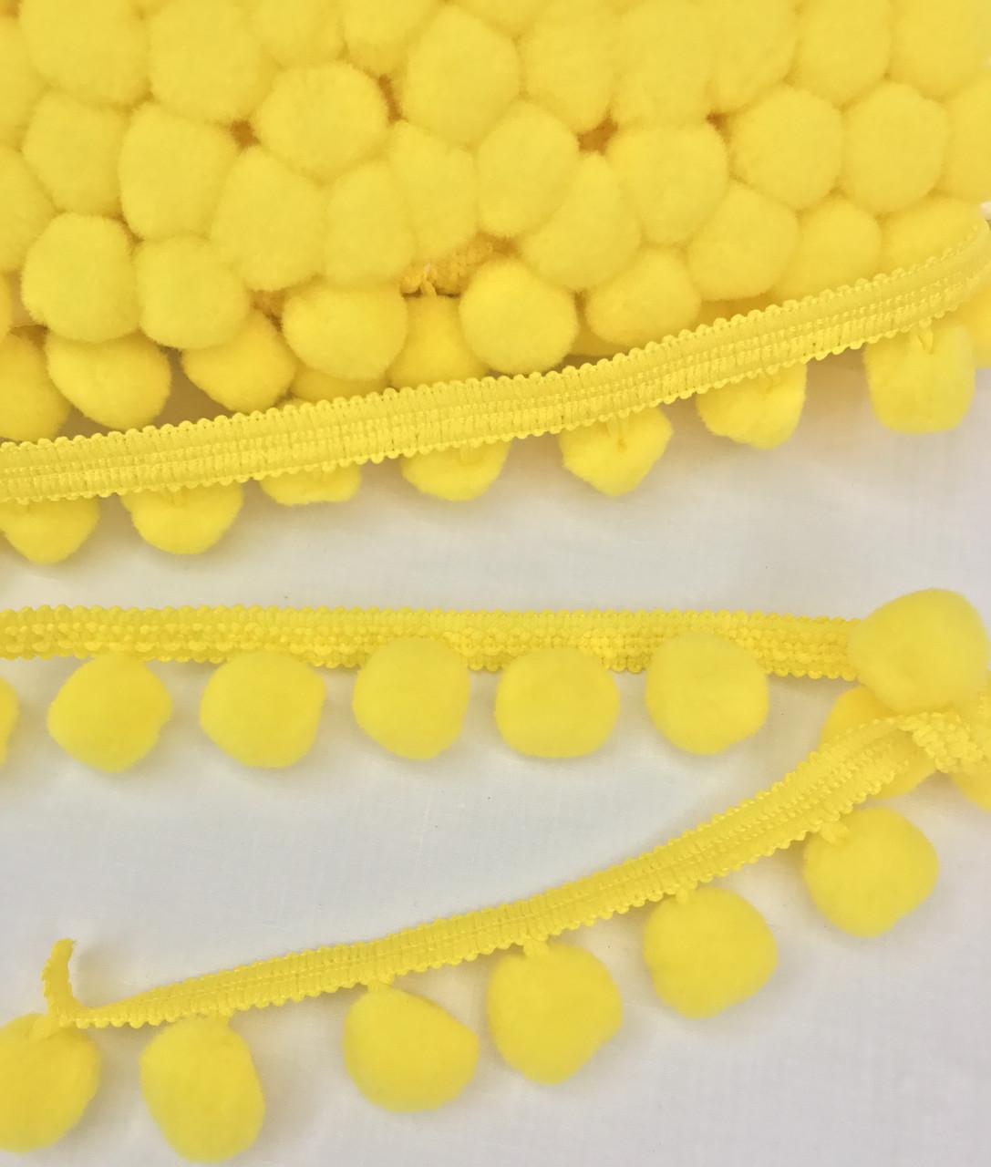 Тесьма с помпонами желтая 20 мм