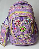 Школьный рюкзак для девочки с пеналом little princess сова цветы сиреневый