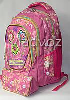 Школьный рюкзак для девочки с пеналом little princess сова цветы розовый