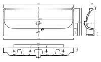 TRAFFIC умывальник мебельный 120*48 см с одним  отверстием,с переливом (пол.)
