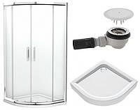 GEO 6 кабина полукруглая 90*90 см, прозрачное  стекло + FIRST поддон полукруглый 90см+ сифон  Геберит