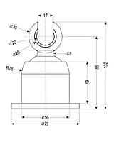 Держатель душевой лейки , настенный, крупный,  регулируемый 360°, хром, картон