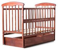 Детская кроватка Наталка маятник, ящик с откидной боковиной темная