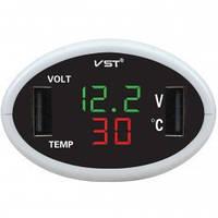 Автомобильные часы с термометром VST 708-4 (зеленый / красный)