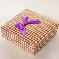 Квадратная коробочка для украшений 9х9х3см - Фиалковое настроение