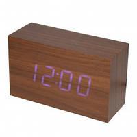 Настольные часы VST-863-5 с синей подсветкой в виде деревянного бруска (питание от сети)
