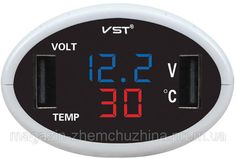 Часы электронные в автомобиль VST 708-5 (синий / красный)