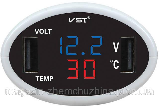 Часы электронные в автомобиль VST 708-5 (синий / красный), фото 2
